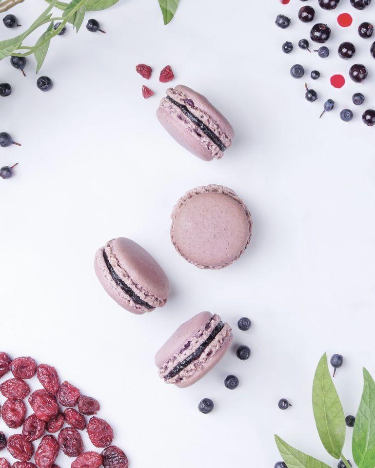 macaron myrtilles cassis cranberries