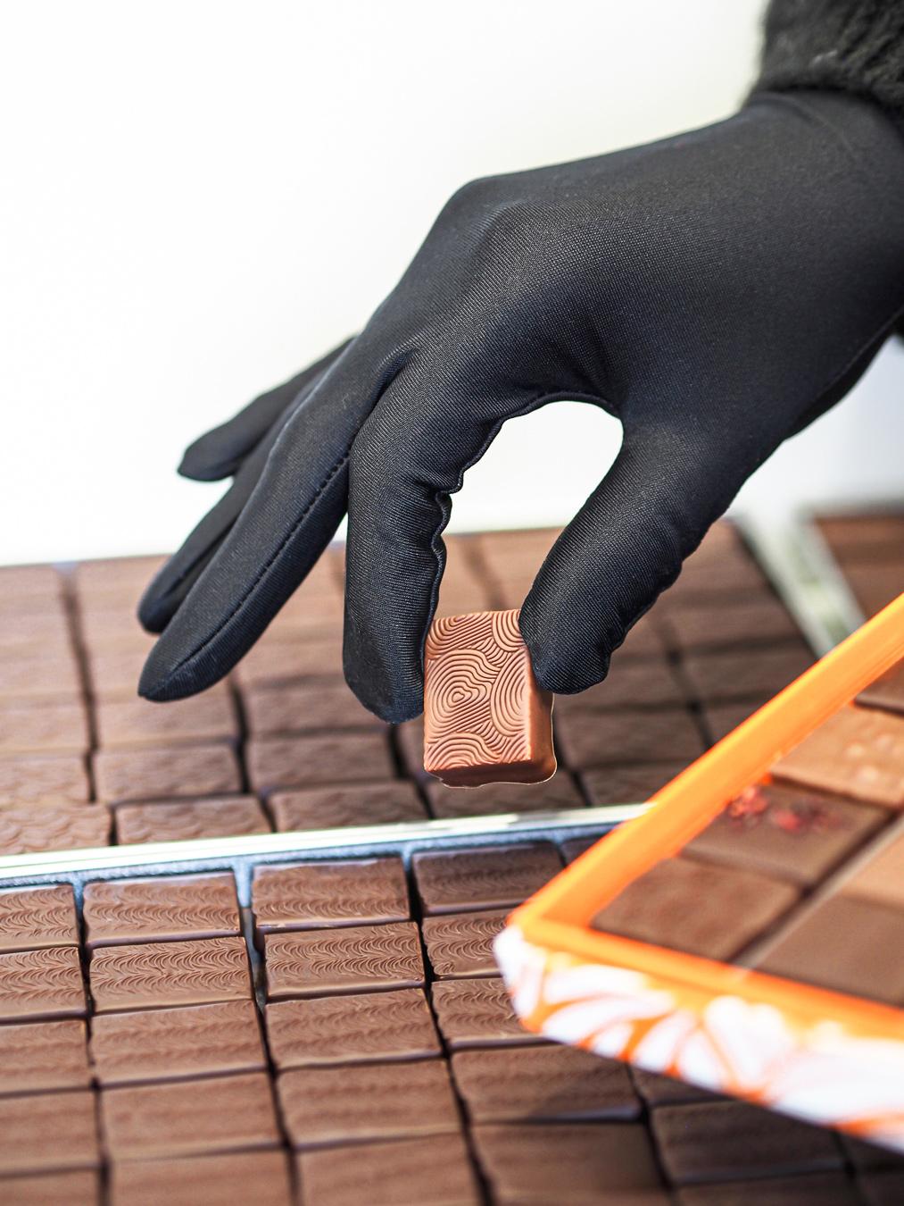 Gants en maille chocolat